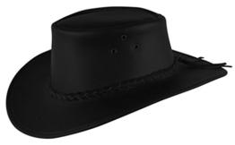 Cowboy Lederhut für Kinder in schwarz und braun mit geflochtenem Hutband -