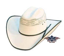 Cowboyhut Ashton weiß mit schwarzer Umrandung Strohhut, Größe (Kopfumfang):61 -