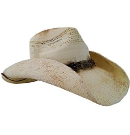Cowboyhut Corona Weiß im Used Look mit Concho und Federn Strohhut von Stars & Stripes, Größe:XL -