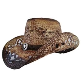 Cowboyhut Strohhut Coyote Braun geflammt von Stars&Stripes Hut Strohhut , Größe:M -