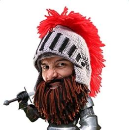 Da.Wa Lustige Hüte Römische Ritterhelm Mütze Winter Handgefertigte Gestrickte Mütze Kein Krempe fur Unisex, Grau -