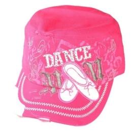 Damen Army Cap im Used Look mit Strass Dance Pink Military Kuba Kappe Mütze Schirmmütze -
