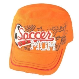 Damen Army Cap im Used Look mit Strass Soccer MOM Orange Military Kuba Kappe Mütze Schirmmütze -