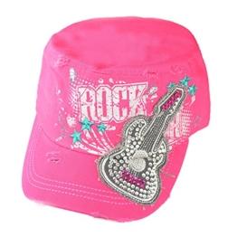 Damen Army Cap im Used Look mit Strass Rock Guitar Schwarz Military Kuba Kappe Mütze Schirmmütze -