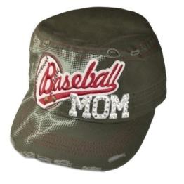 Damen Army Cap im Used Look mit Strass Baseball MOM Olive Military Kuba Kappe Mütze Schirmmütze -