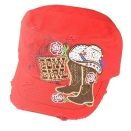 Damen Army Cap im Used Look mit Strass Cowgirl Western Rot Military Kuba Kappe Mütze Schirmmütze -