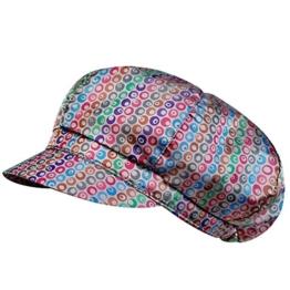 Damen - Ballonmütze Schirmmütze Regenmütze Damenmütze - wasserabweisend - 67456 (58 cm, Hellgrau bunt gemustert) -