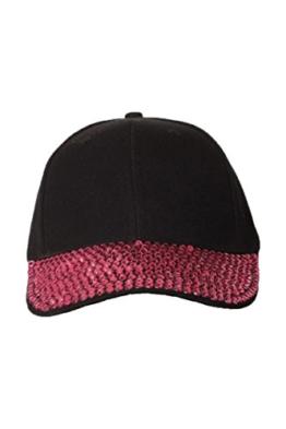 Damen Basecap Mütze Jeans Look mit Glitzer Steine (One Size, Schwarz-Pink) -
