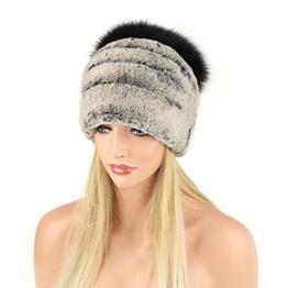 Damen Chinchilla Mütze Pelzmütze Fellmütze Oversizemütze Beanie FUCHS Wintermütze Skimütze Fox Kappe Pelzkappe Fuchsmütze -