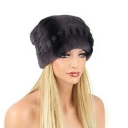 Damen Chinchilla Mütze Pelzmütze Oversizemütze Beanie Fellmütze FUCHS Wintermütze Skimütze Fox Kappe Pelzkappe Fuchsmütze -