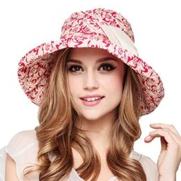 Damen Frauen sommer Strand Hut Wannen Hut Fedora Hats großer Rand-Anti-UV Sonnenhut Faltbarer Sonnenhut (Red) -