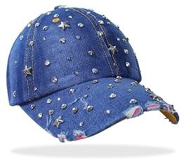 Damen Jeans Basecap Baseball Cap Mütze Kappe mit Sterne Strasssteinen und Glitzer - C019 (C019-Jeansblau) -