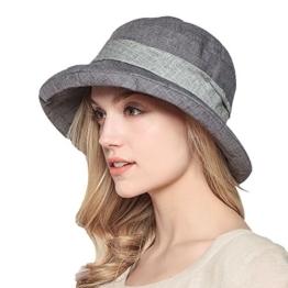 Damen Sommer Strand Hat Eimer Hut Fedorahüte großer Rand-Anti-UV Sonnenhut Faltbarer Sonnenhut (Gray) -