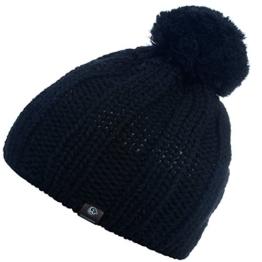 Damen Strickmütze Ackerlspitze, Einfarbig, Gr. One size, Schwarz (schwarz 022) -