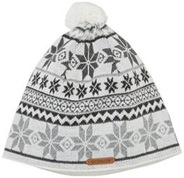 Damen Strickmütze Jochspitze, Gestreift, Gr. One size, Weiß (perlweiß 014) -