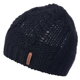 Damen Strickmütze Roßhorn, Einfarbig, Gr. One size, Schwarz (schwarz 022) -