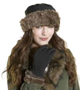 Damen Thermo Winter-Set - Glockenhut-Mütze & Handschuhe - Kunstfell-Besatz - Wasserdicht - Schwarz - Einheitsgröße - Schwarz -