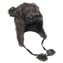 Damen Thermo Wintermütze / Ski-Mütze mit Bommel und Ohrenklappen, Kunstfell (57 cm) (Grau) -