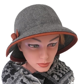Damenhut eleganter Glockenhut Wollhut Farbauswahl Damenhüte Anlasshüte (Grau/Braun) -