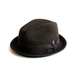 Dasmarca Albert Zerdrückbare Zweifarbige Braun Wollfilzhut Filzhüte Trilby Fedora Hut - M -