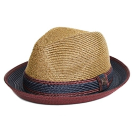 Dasmarca Benson Tobacco Twotone Sommer Geflochtene Fedora-Hut - S -