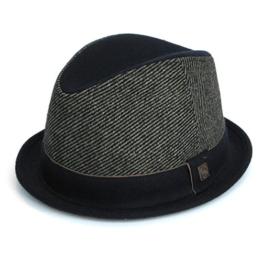Dasmarca Bruce Schwarz Tweed Wolle Trilby Fedora Stingy Brim Hut - S -