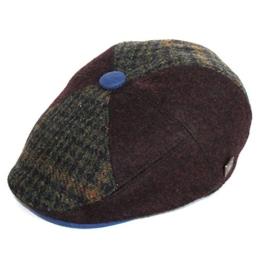 Dasmarca Colin Wine Acht-Panel-Taste Top Cabbie Newspaper Boy Bakerboy Winter-Tweed Wolle Cap - XL -