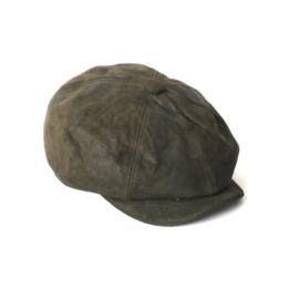 Dasmarca Curt Olive Leder Kappe Wintermütze Ballonmütze Newsboy Cap, Bakerboy Cap - S -