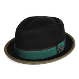 Dasmarca Edward Crushable & Packable Blk / Grüne Winter Porkpie Wolle-Hut - S -