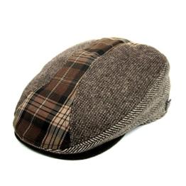 Dasmarca Felix Latte Tweed Patchworked Wolle Winter Flat Cap - L -