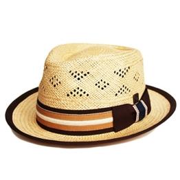 Dasmarca Gilbert Natürliche Palm Straw Sommer Fedora-Hut - XL -
