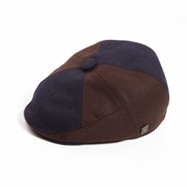 Dasmarca Giles Navy Brown Panel Fitted Gatsby Winter Wool Cap - S -