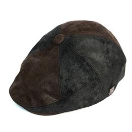 Dasmarca Hunter Schwarz Leder Kappe Wintermütze Ballonmütze Newsboy Cap, Bakerboy Cap - XL -