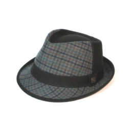 Dasmarca Jeffrey Grau Tweed Wolle Trilby Fedora - Hut - XL -