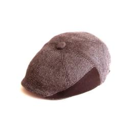 Dasmarca Jules Braun TweedKappe Wollmütze Wintermütze Ballonmütze Newsboy Cap, Bakerboy Cap - S -