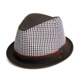 Dasmarca Lissabon Braun Gingham Baumwolle Skimpy Rand-Sommer -Hut S -