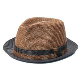 Dasmarca Oscar Sand Multi-ColouRot Faltbare Packable Sommer Geflochtene Strohtrilby Hat - S -