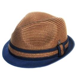 Dasmarca Paxton Coco Kurz Brim Retro Sommer Geflochtene Strohtrilby Hat - L -