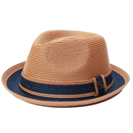Dasmarca Raynor Maple Zweifarbige Retro Faltbare Packable Sommer Geflochtene Straw Trilby - XL -