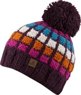 DAVID Bommelmütze - handmade in Nepal Beanie Strickmütze Mütze Wintermütze Beanie Herren Damen (plum/orange) -