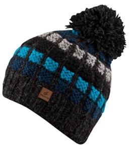 DAVID schwarz/blau Bommelmütze Pudelmützeaus Naturwolle von Chillouts -