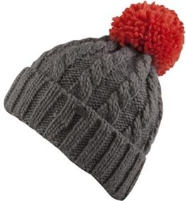 Diago -Strick Mütze mit Innenfleece - Zopfmuster und farbig abgesetzter Bommel (dunkelgrau/coral) -