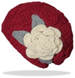 dy_mode Damen Strick Mütze mit Rosen-Blumen in viele Farben / Bunte Strickmütze Wintermütze - A039 (A039-Rot) -