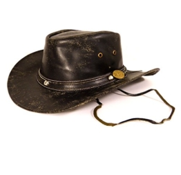 Echt Leder Cowboyhut Westernhut - Buff Antique Split (XL, Schwarz antik) -