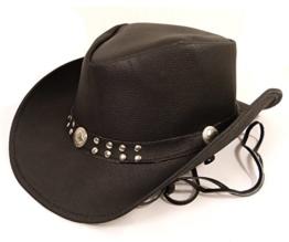 Echt Leder Cowboyhut Westernhut Schwarz - Mild Split Leather (L, Schwarz) -