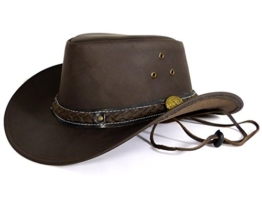 Echt Leder Cowboyhut Westernhut - Black Grain Skipper (M, Schwarz) -