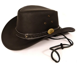 Echt Leder Cowboyhut Westernhut - Black Skipper (L, Schwarz) -