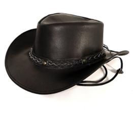 Echt Leder Outback Cowboyhut Westernhut Schwarz - Split Leather (L, Schwarz) -