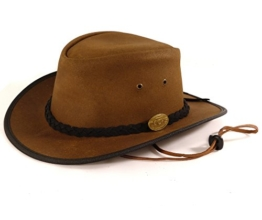 Echt Leder Outbackhut Cowboyhut Westernhut Braun - Double Ribbon Split (L, Braun) -