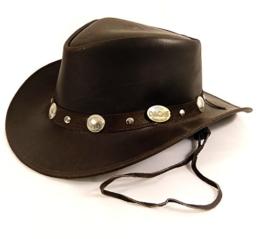 Echt Leder Outdoor Cowboyhut Westernhut Dunkelbraun - Split Leather (S, Dunkelbraun) -